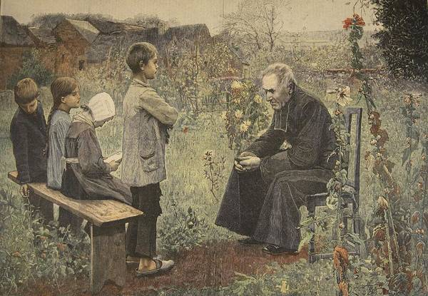 Ancient Drawing - Priest Teaching Children The Catechism by Jules-Alexis Meunier