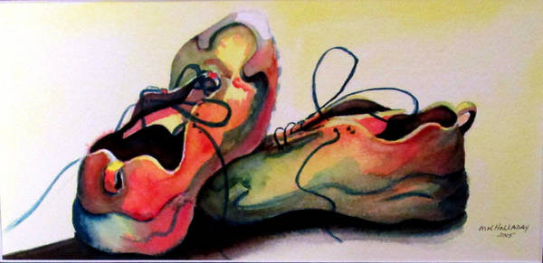 Sneakers Painting - Primarily Sneakers by Mary Kay Holladay