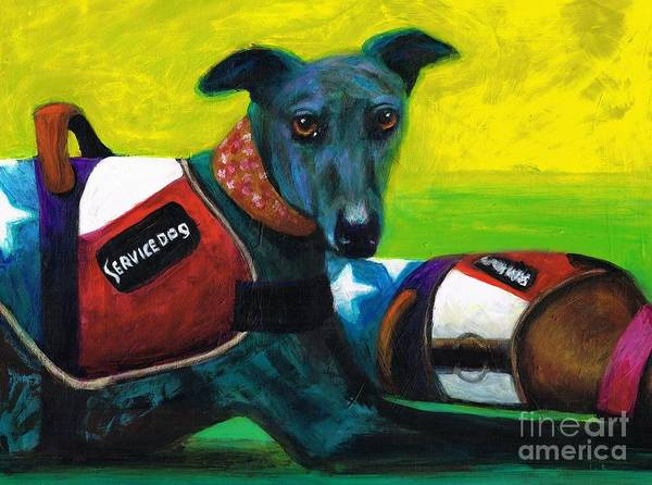 Service Dog Painting - Primary Colors by Frances Marino