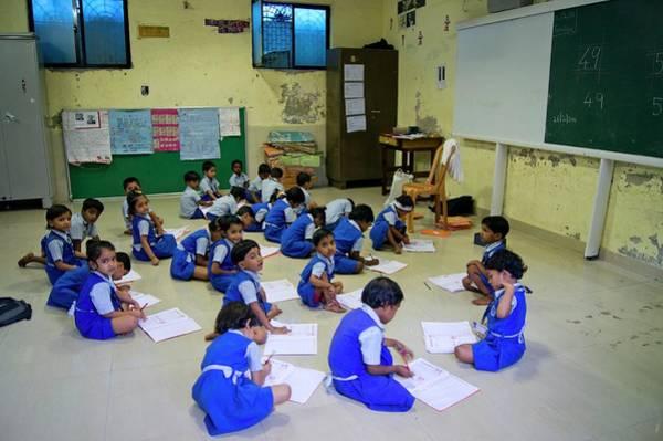 Classroom Photograph - Primary School In Mumbai by Mark Williamson