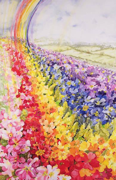 Rainbow Rose Wall Art - Painting - Primrose Rainbow by Joan Thewsey