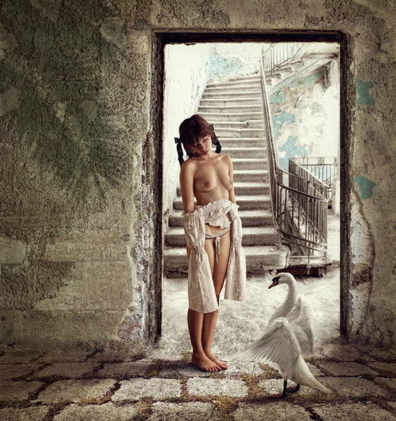 Abandon Wall Art - Photograph - Princess And The Swan by Dmitry Laudin