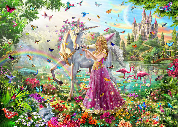 Flamingo Flower Wall Art - Digital Art - Princess And The Unicorn by MGL Meiklejohn Graphics Licensing