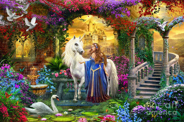 Dove Digital Art - Princess And Unicorn In The Cloisters by MGL Meiklejohn Graphics Licensing
