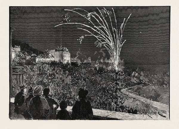 Fireworks Drawing - Princess Beatrices Birthday At Grasse Illuminations by French School