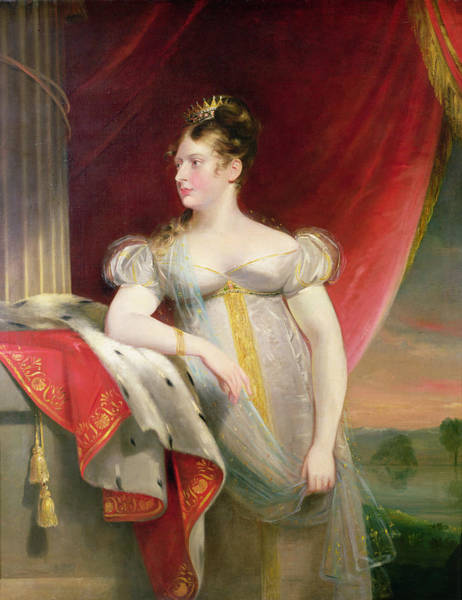 Ermine Wall Art - Photograph - Princess Charlotte 1796-1817 Before 1817 Oil On Canvas by James Lonsdale