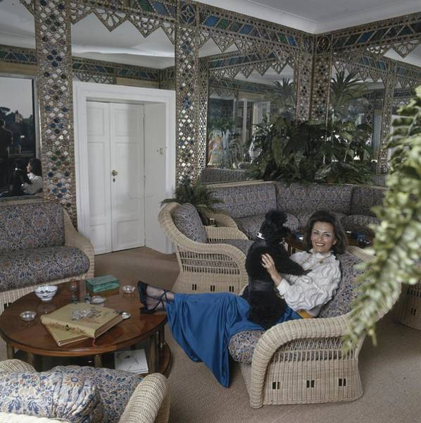 Coffee Photograph - Princess Irene Galitzine With Her Poodle by Henry Clarke