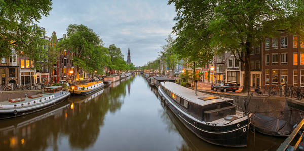 Prinsengracht Photograph - Prinsengracht Canal At Dusk by Panoramic Images