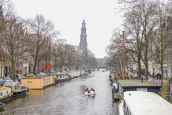 Houseboat Photograph - Prinsengracht With Westerkerk In Amsterdam by Patricia Hofmeester