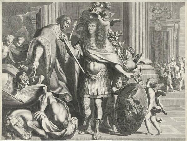 Olive Branch Drawing - Print Of Aegidius Le Maistre 1665, Upper Part by Nicolas Pitau I And Jean Lepautre