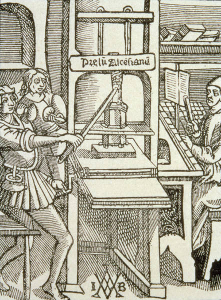 Printing Press Of 1498, From A Book Printed In That Year Engraving Art Print