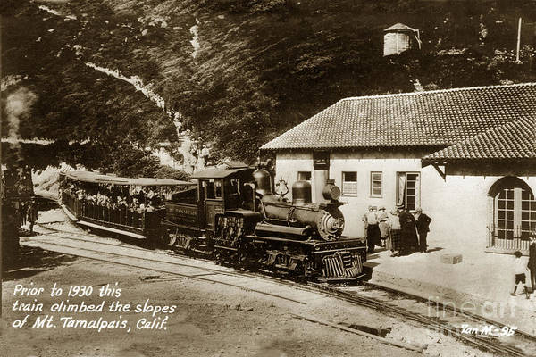Photograph - Prior To 1930 This Stean Shay Train Climbed The Slop Of Mt. Tamalpais California by California Views Archives Mr Pat Hathaway Archives