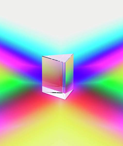 Photograph - Prism Refracting Spectral Colours by David Parker