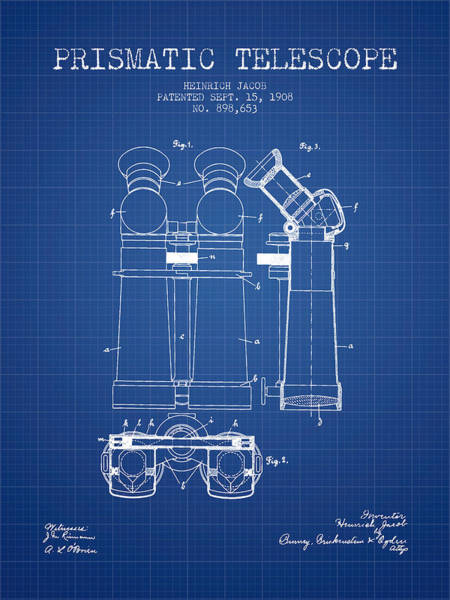 Living Space Wall Art - Digital Art - Prismatic Telescope Patent From 1908 - Blueprint by Aged Pixel