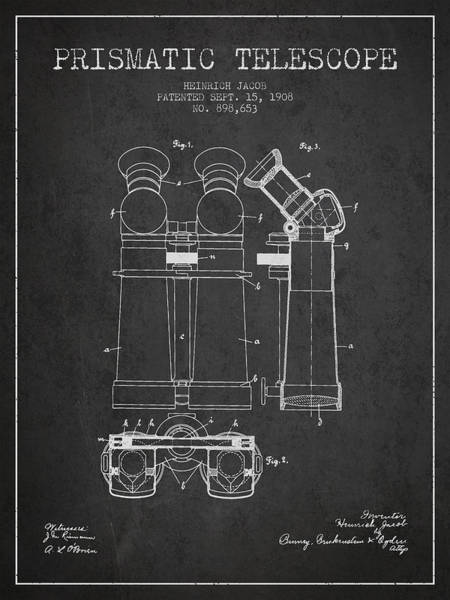 Wall Art - Digital Art - Prismatic Telescope Patent From 1908 - Dark by Aged Pixel