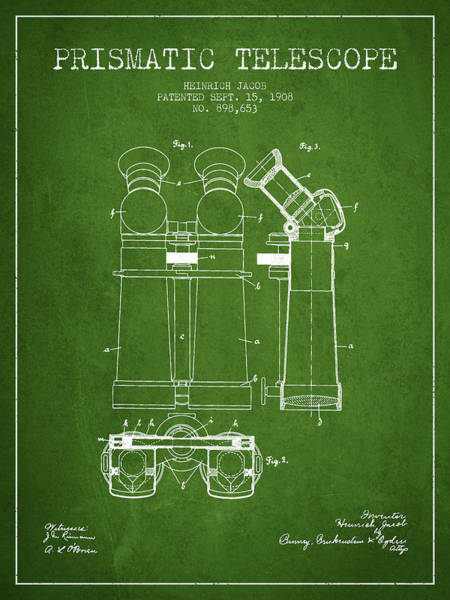 Wall Art - Digital Art - Prismatic Telescope Patent From 1908 - Green by Aged Pixel