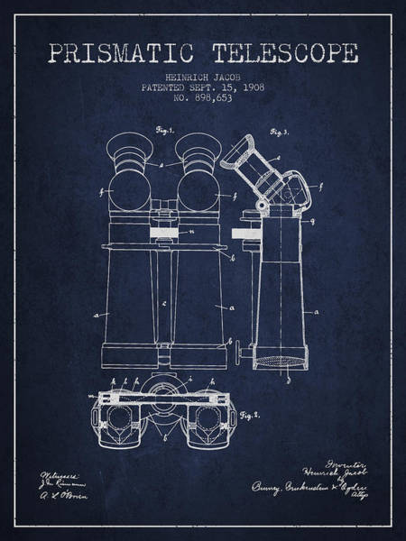 Wall Art - Digital Art - Prismatic Telescope Patent From 1908 - Navy Blue by Aged Pixel