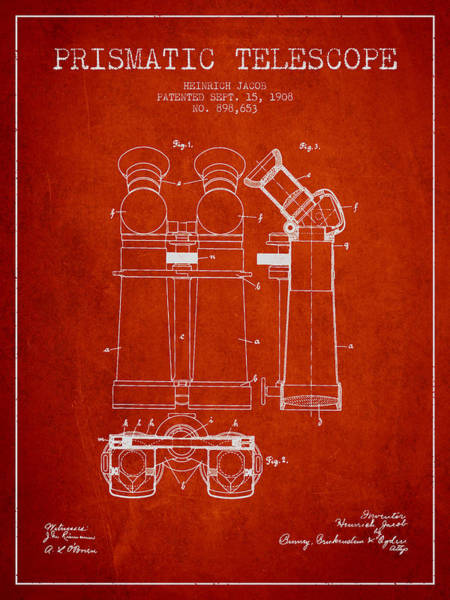 Wall Art - Digital Art - Prismatic Telescope Patent From 1908 - Red by Aged Pixel