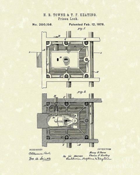 Drawing - Prison Lock 1878 Patent Art  by Prior Art Design