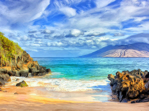 Kona Painting - Private Beach At Wailea Maui by Dominic Piperata