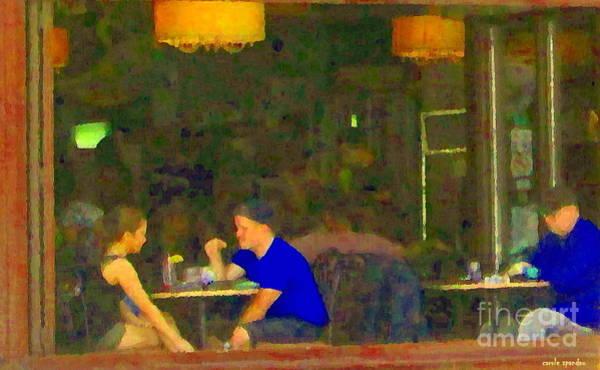 Painting - Private Conversation Couple By The Window Romantic Restaurant Rendezvous Cafe Scenes Carole Spandau by Carole Spandau