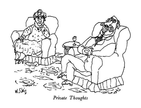 Thought Drawing - Private Thoughts by William Steig