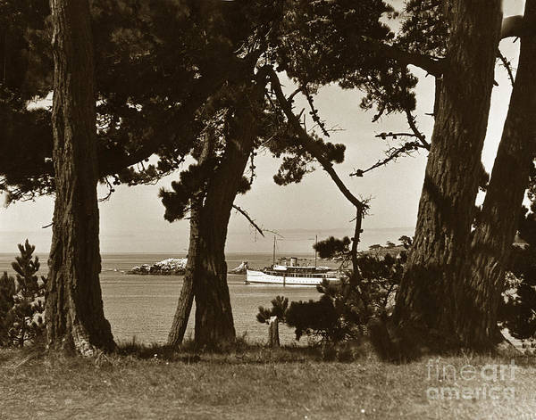 Photograph - Private Yacht In Stillwater Cove Pebble Beach Circa 1930 by California Views Archives Mr Pat Hathaway Archives
