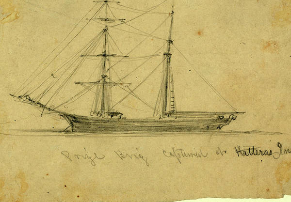 Wall Art - Drawing - Prize Brig Captured At Hatteras Inlet, 1861 August by Quint Lox