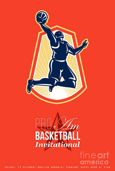 Amateur Digital Art - Pro Am Basketball Invitational Retro Poster by Aloysius Patrimonio