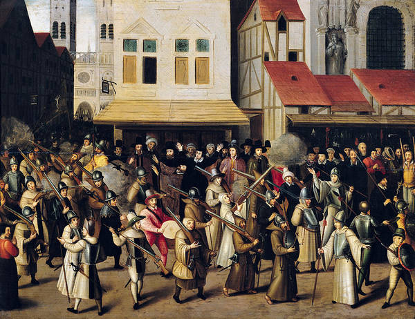Gunfire Photograph - Procession Of The Holy League In 1590 Oil On Panel by Francois Bunel