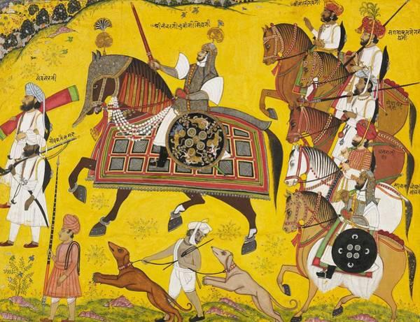 Singh Wall Art - Painting - Processional Portrait Of Prince Bhawani Sing Of Sitamau by Pyara Singh