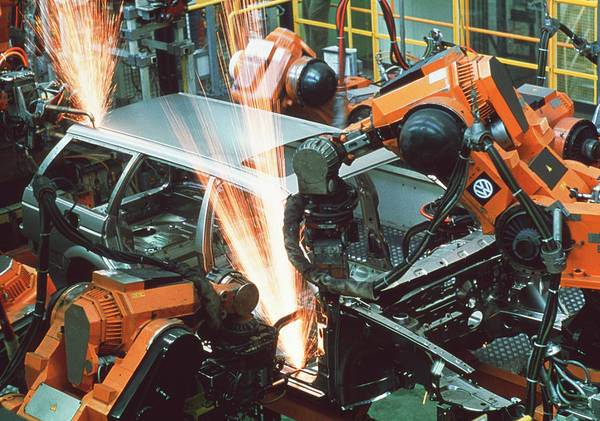 Manufacture Wall Art - Photograph - Production Line Robots by Maximilian Stock Ltd/science Photo Library