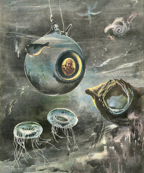 Atlantic Ocean Drawing - Professor Beebe In His  Bathysphere by Mary Evans Picture Library