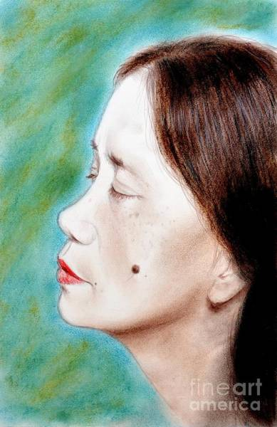 Filipino Drawing - Profile Of A Filipina Beauty With A Mole On Her Cheek  by Jim Fitzpatrick
