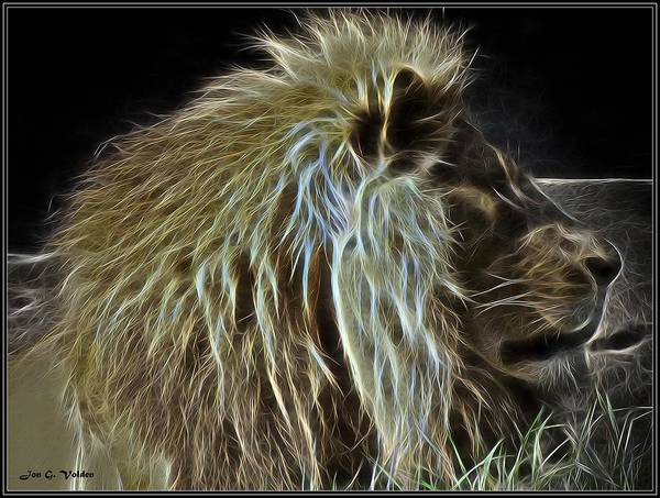 Painting - Profile Portrait Of A Glowing Lion by Jon Volden