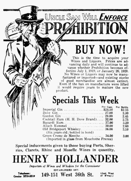 Drawing - Prohibition, 1919 by Granger
