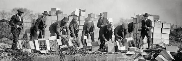 Moonshine Photograph - Prohibition Feds Destroy Liquor  1923 by Daniel Hagerman