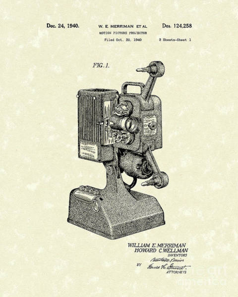 Drawing - Projector 1941 Patent Art by Prior Art Design
