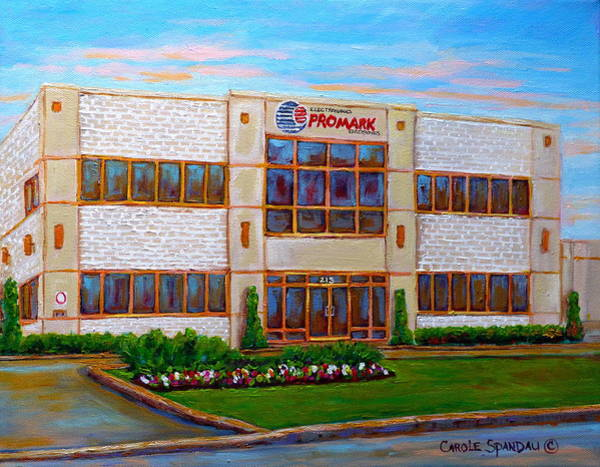 Painting - Promark Electronics 215 Voyageur Street Pointe Claire Montreal Scene by Carole Spandau