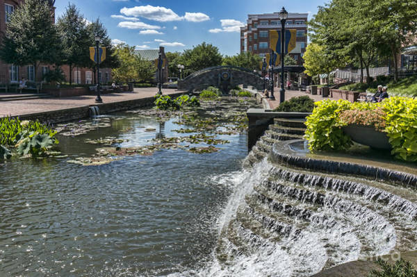 Wall Art - Photograph - Promenade And Waterfall In Carroll Creek Park In Frederick Mary by William Kuta