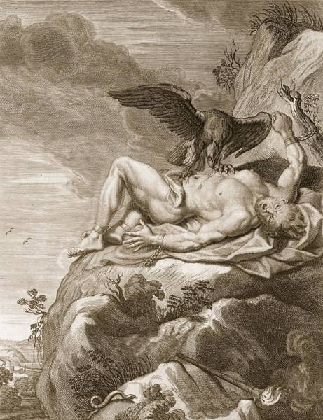 Wall Art - Drawing - Prometheus Tortured By A Vulture, 1731 by Bernard Picart