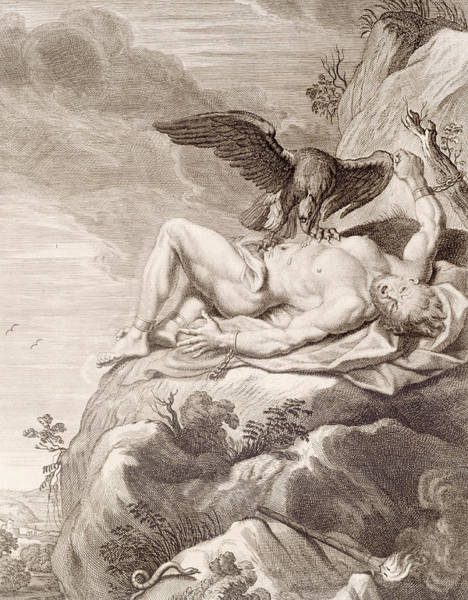 Folklore Drawing - Prometheus Tortured By A Vulture by Bernard Picart