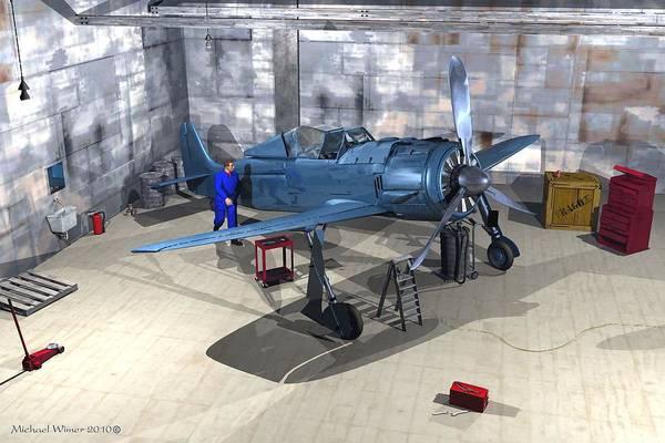 Speed Boat Digital Art - Prop Plane In Hangar by Michael Wimer