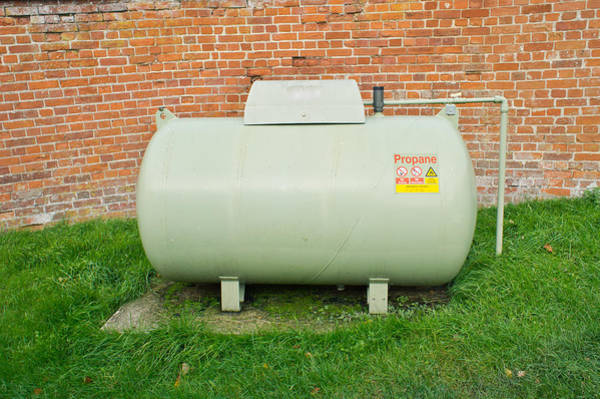 Steel Construction Wall Art - Photograph - Propane Tank by Tom Gowanlock