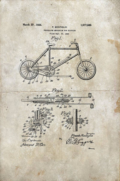 Digital Art - Propelling Mechanism For Bicycles Patent 1926 by Paulette B Wright