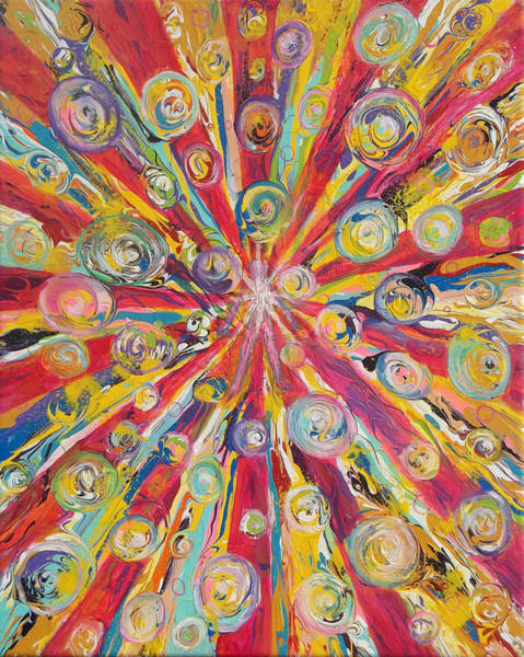 Painting - Prophetic Message Sketch 17 Sending Love Bombs Over The World by Anne Cameron Cutri