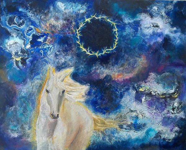 Prophetic Message Sketch Painting 6 Ring Of Lightning White Horse Art Print