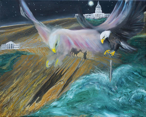 Painting - Prophetic Ms 36 Two Eagles Camel Through Eye Of Needle Parable by Anne Cameron Cutri