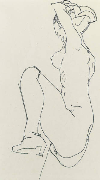 Sensual Drawing - Prostrate Female Nude by Egon Schiele