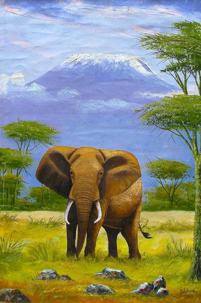 Painting - Protected Elephant by Shikaro